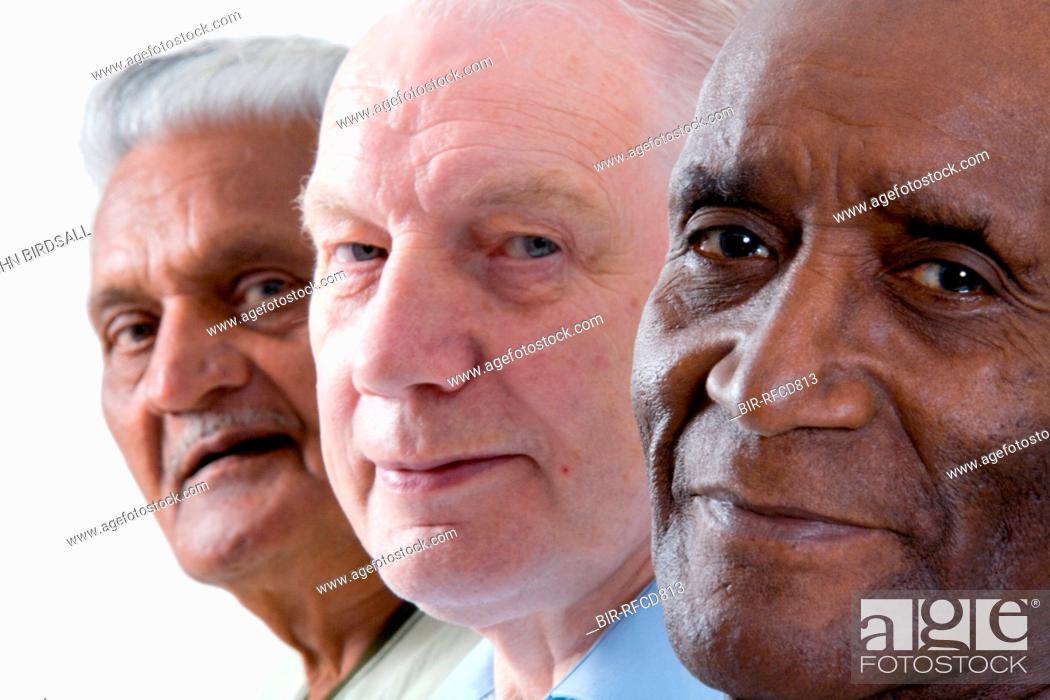 Stock Photo: Multiracial group of older men smiling,.