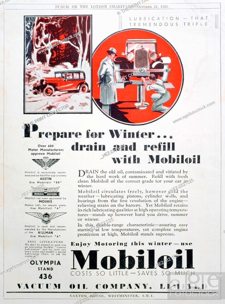 Mobiloil motor oil advert, 1931  A print from Punch, or The London