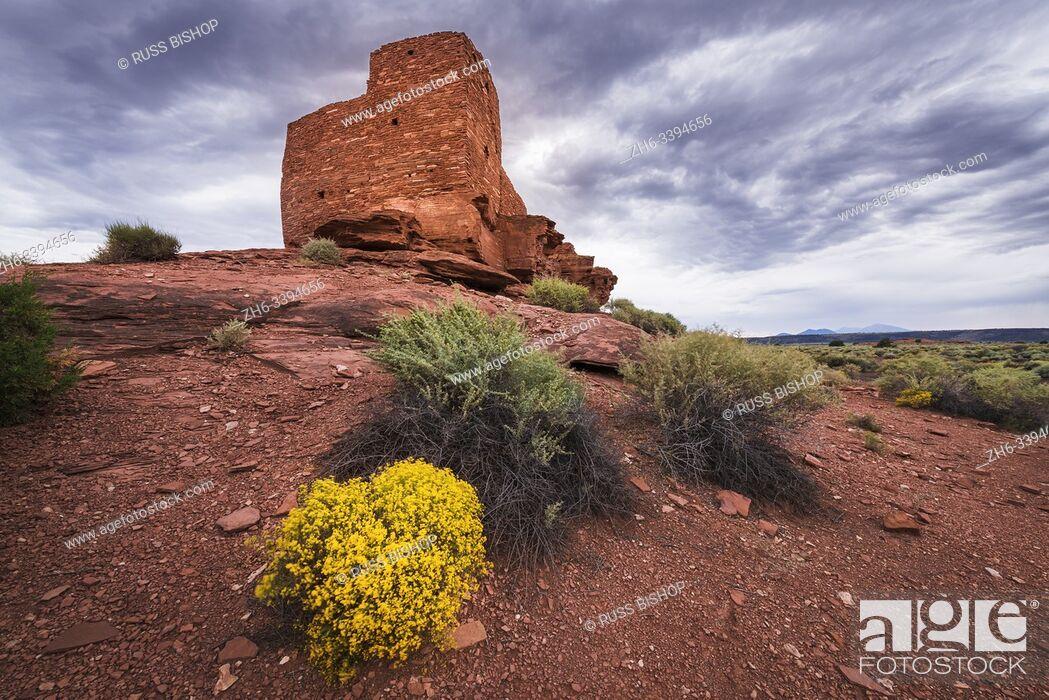 Stock Photo: Evening light on Wukoki Ruin, Wupatki National Monument, Arizona.
