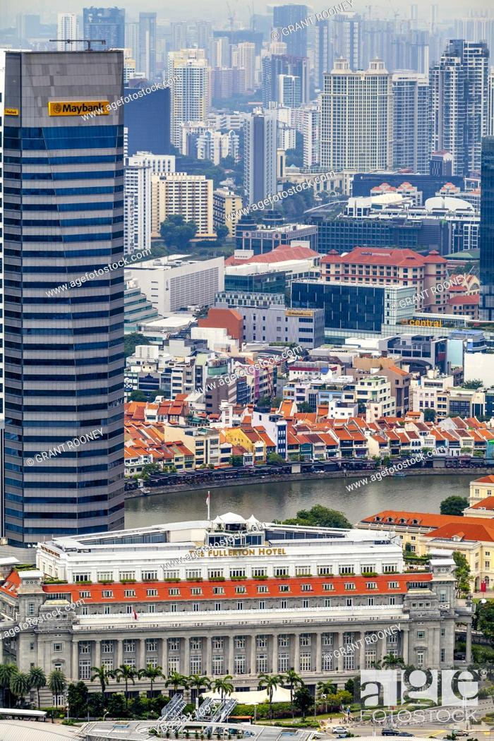 Stock Photo: An Aerial View Of The Fullerton Hotel, Boat Quay and The Singapore Skyline, Singapore, South East Asia.