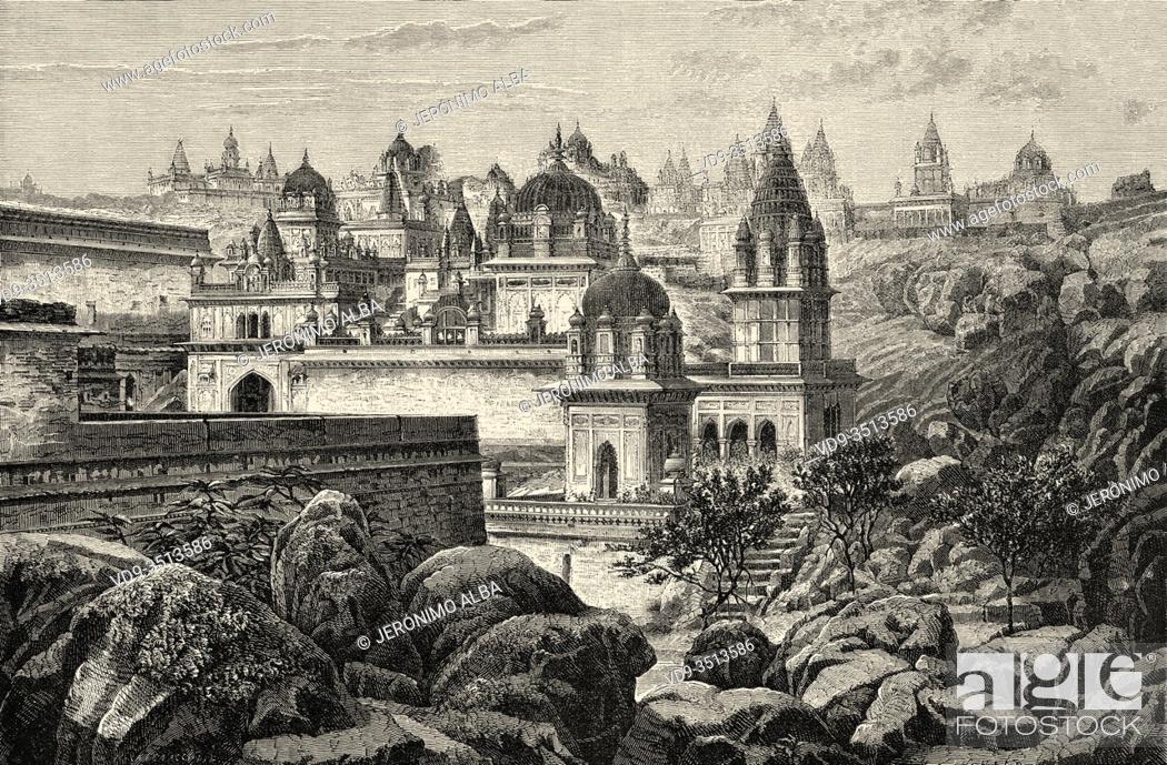 Stock Photo: Sounghur sacred hill, Madhya Pradesh India. Old engraving illustration from El Mundo en la Mano 1878.