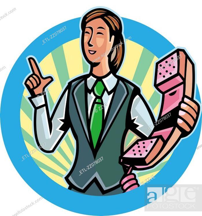 Stock Photo: Close-up of businesswoman holding landline phone receiver.