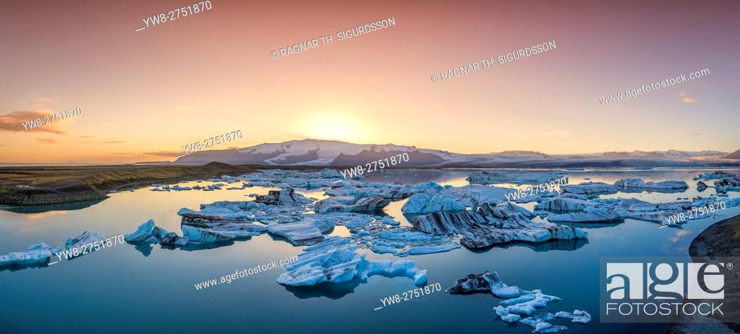 Stock Photo: From above-Jokulsarlon Glacial Lagoon, Breidamerkurjokull Glacier, Vatnajokull Ice Cap, Iceland. Image is shot with a drone.