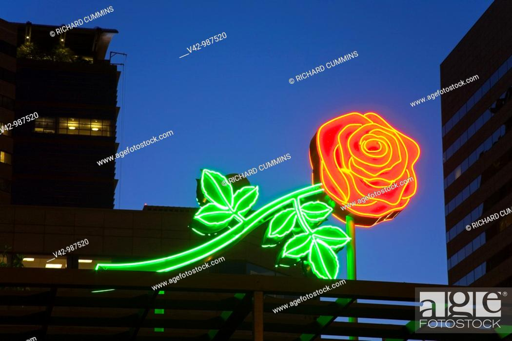 Stock Photo: Neon rose sign in Waterfront Park, downtown Portland, Oregon,USA.