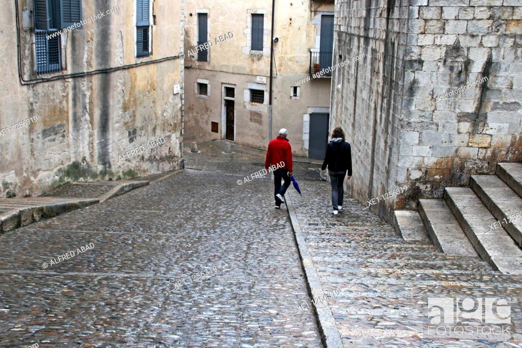 Stock Photo: Walking by the streets of Girona, Catalonia, Spain..