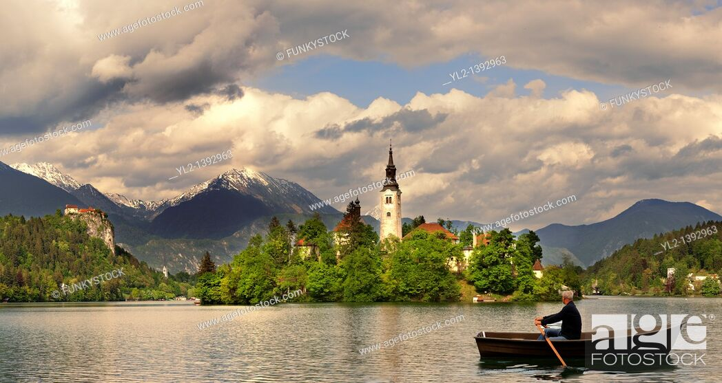 Stock Photo: Bled Lake with the island church - Slovenia.