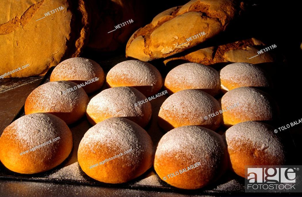 "Stock Photo: ""Cocas de patata"" (potato cake), typical pastries. Valldemossa. Serra de Tramuntana. Majorca, Balearic Islands, Spain."