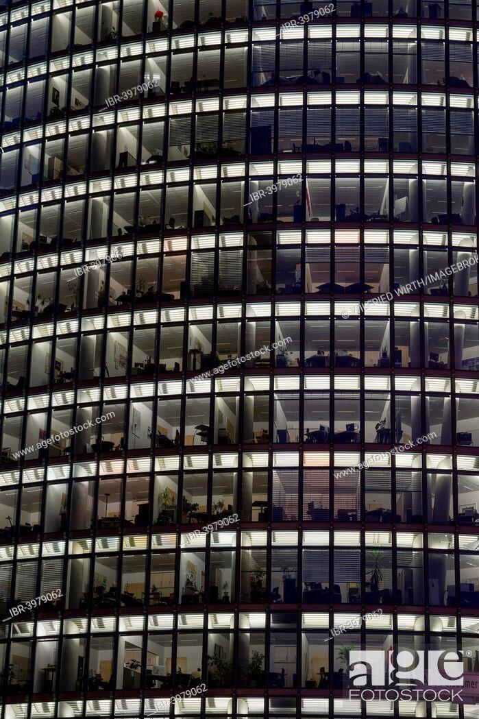 Stock Photo: Windows of the façade of BahnTower, Deutsche Bahn headquarters, Potsdamer Platz square, Berlin, Germany.