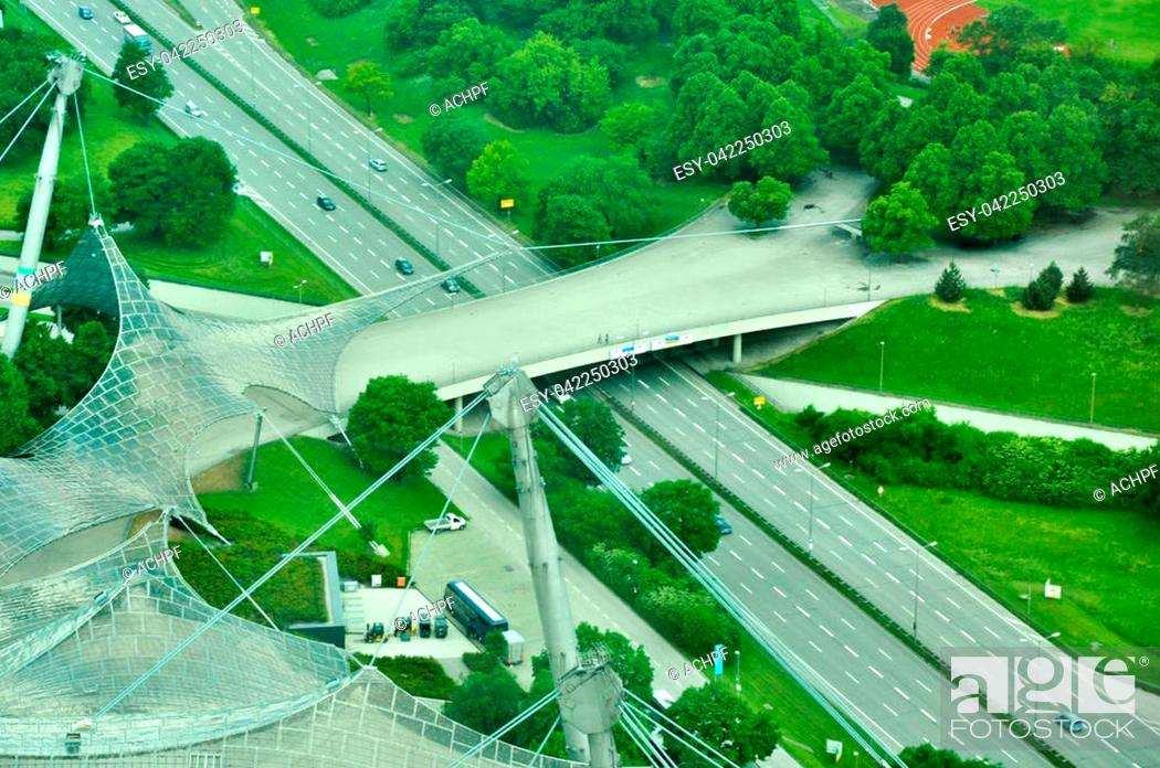Stock Photo: Aerial view of the Olympic park from the The Olympic Tower in Munich, Germany.
