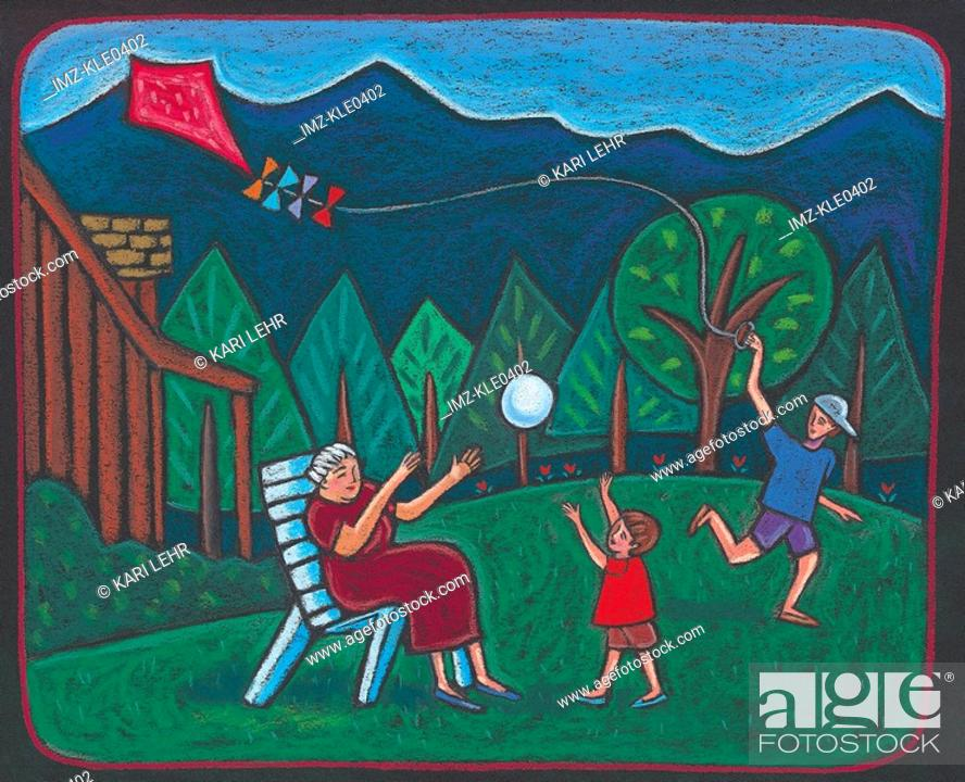 Stock Photo: Children playing with a kite and their grandmother in the backyard.