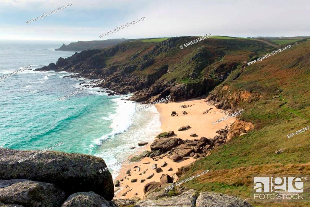 Stock Photo: Porthchapel beach in autumn Cornwall England UK near the Minack Theatre and Porthcurno.
