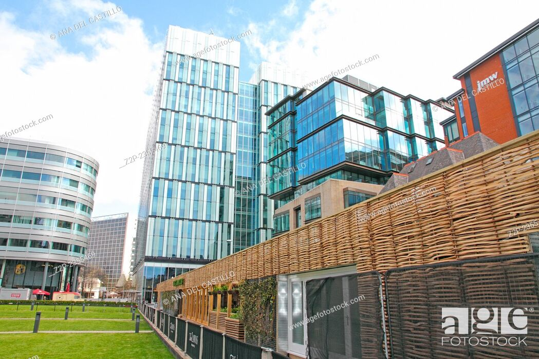 Stock Photo: MANCHESTER UK-APRIL 19: Spinningfield is a modern area was specially developed in the 2000s as a business, retail and residential development of Manchester on.