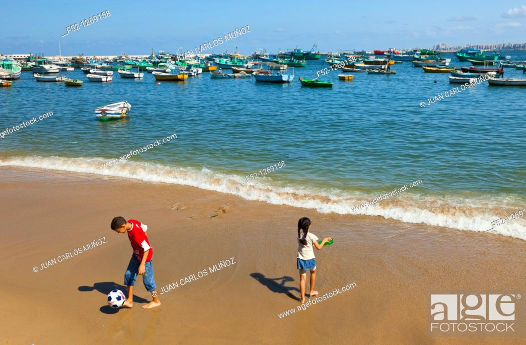 Stock Photo: Beach on the Corniche or Avenue July 26, City of Alexandria, Egypt, Mediterranean Sea.
