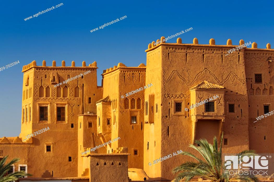Stock Photo: Kasbah of Taourirt Ouarzazate, built by Pasha Glaoui. Unesco World Heritage Site . Morocco, Maghreb North Africa.