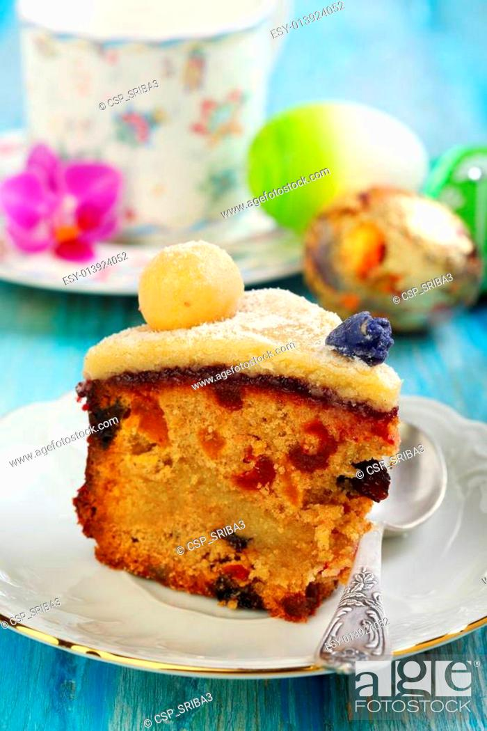 Stock Photo: English Easter cake. Holiday breakfast.