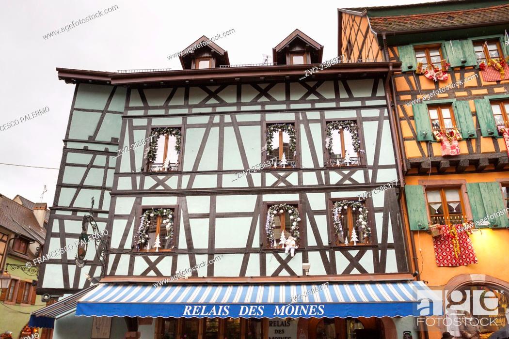 Stock Photo: Typical building Alsatian houses. Riquewihr, Alsace. France.
