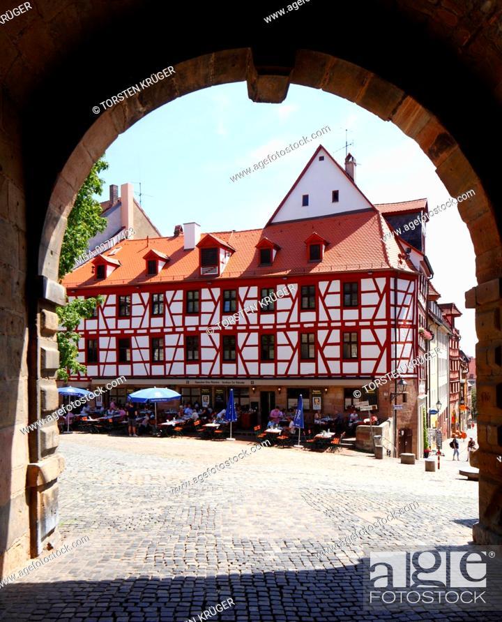Stock Photo: Square at Tiergärtnertor, Nuremberg, Bavaria, Germany, Europe.