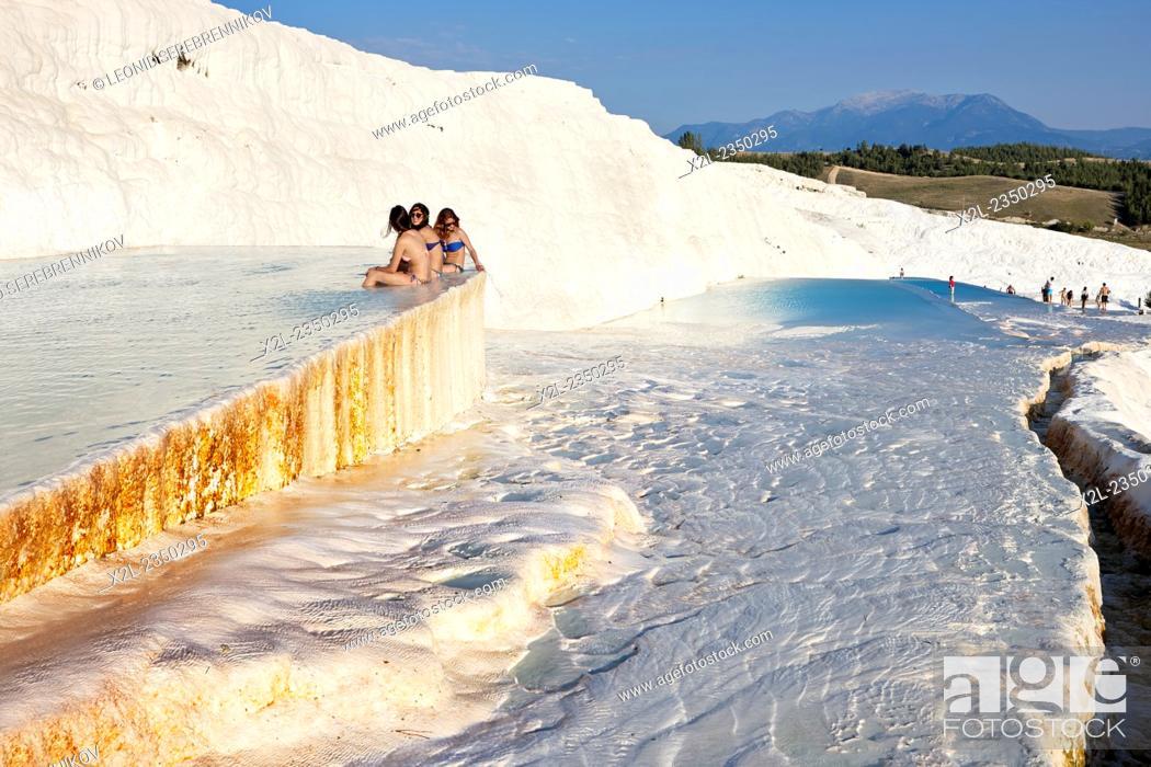 Stock Photo: Travertine terraces of Pamukkale. Denizli Province, Turkey.