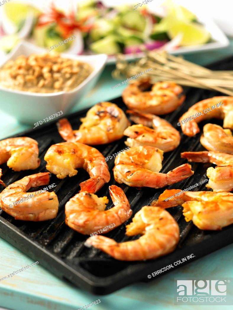 Stock Photo: Grilled prawns with peanut sauce.