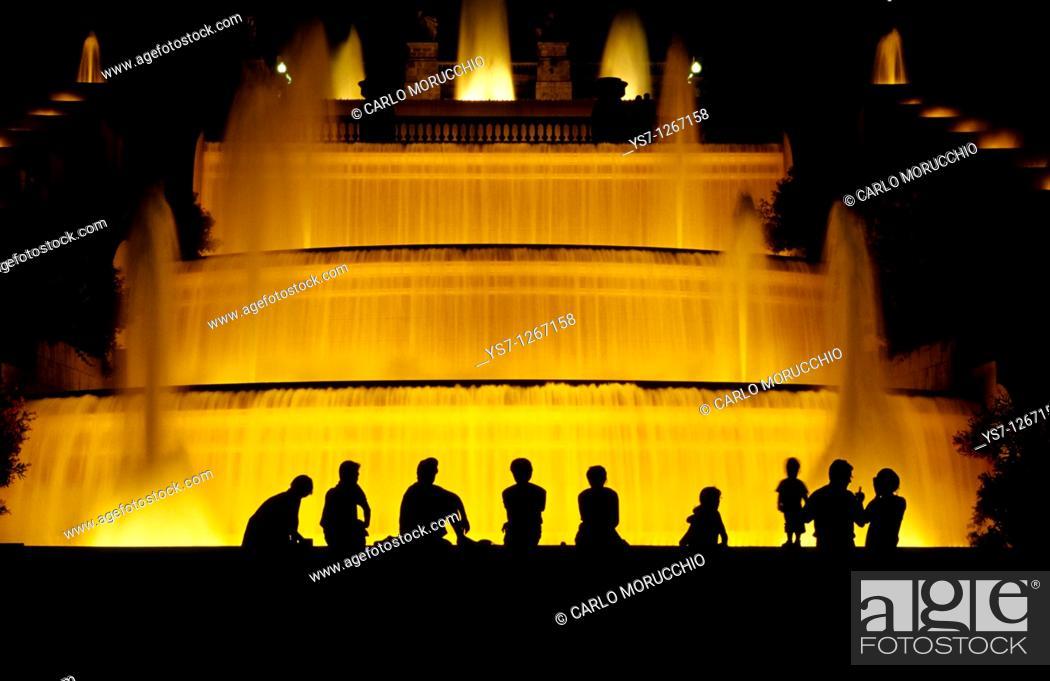 Stock Photo: Palau Nacional fountain, Barcelona, Spain.
