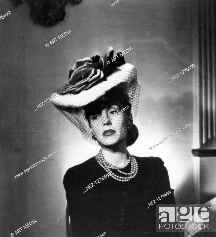 Woman Wearing A Hat And Veil By The French Fashion Designer Jacques Fath France 1943 Stock Photo Picture And Rights Managed Image Pic Hez 1276699 Agefotostock