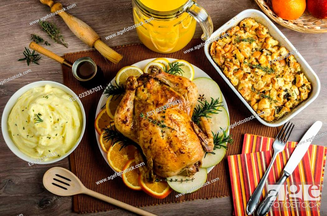 Stock Photo: Feasting - stuffed roast chicken with herbs.