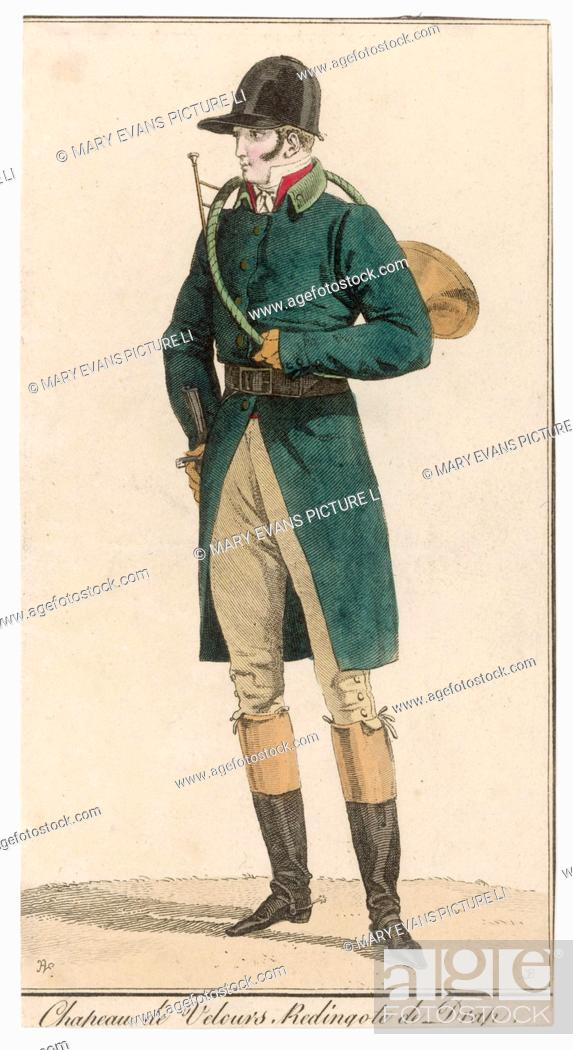 Stock Photo: Single-breasted green coat cut away below the waist, cuffs unbuttoned, stand-fall collar & leather belt, red waistcoat, cravat, breeches, top boots, spurs.