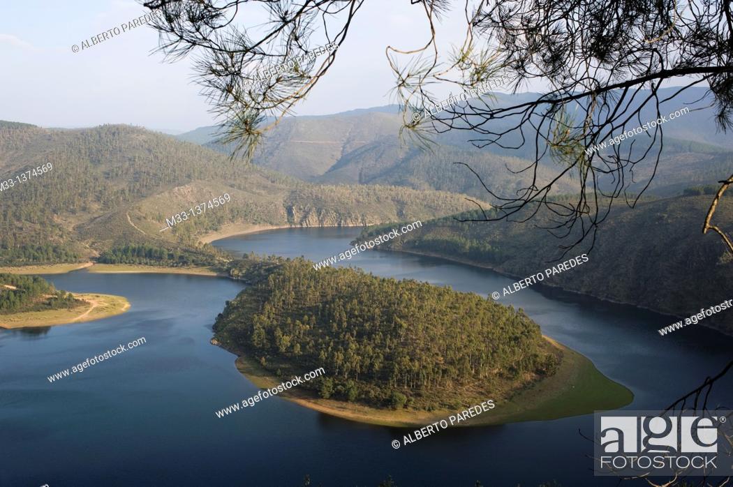 Stock Photo: Meander Melero, Alagon river , Las Hurdes area, Caceres province, Extremadura region, Spain.