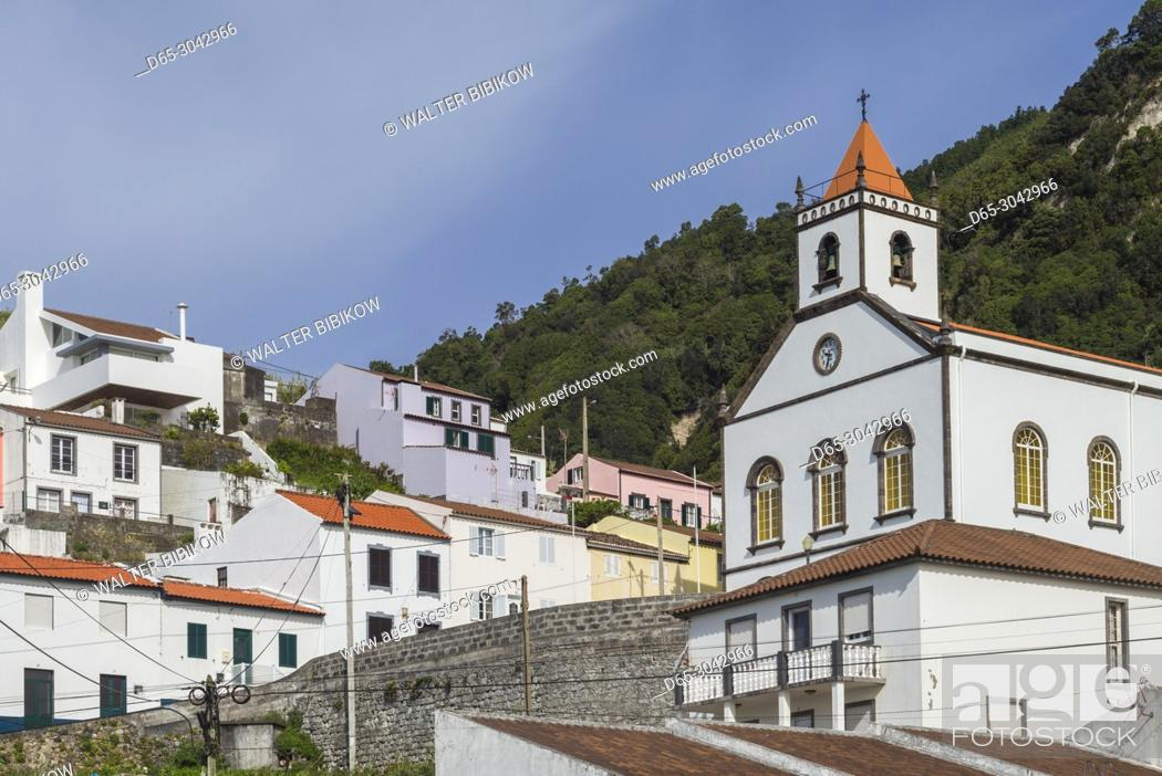 Stock Photo: Portugal, Azores, Sao Miguel Island, Ribeira Quente, town church.