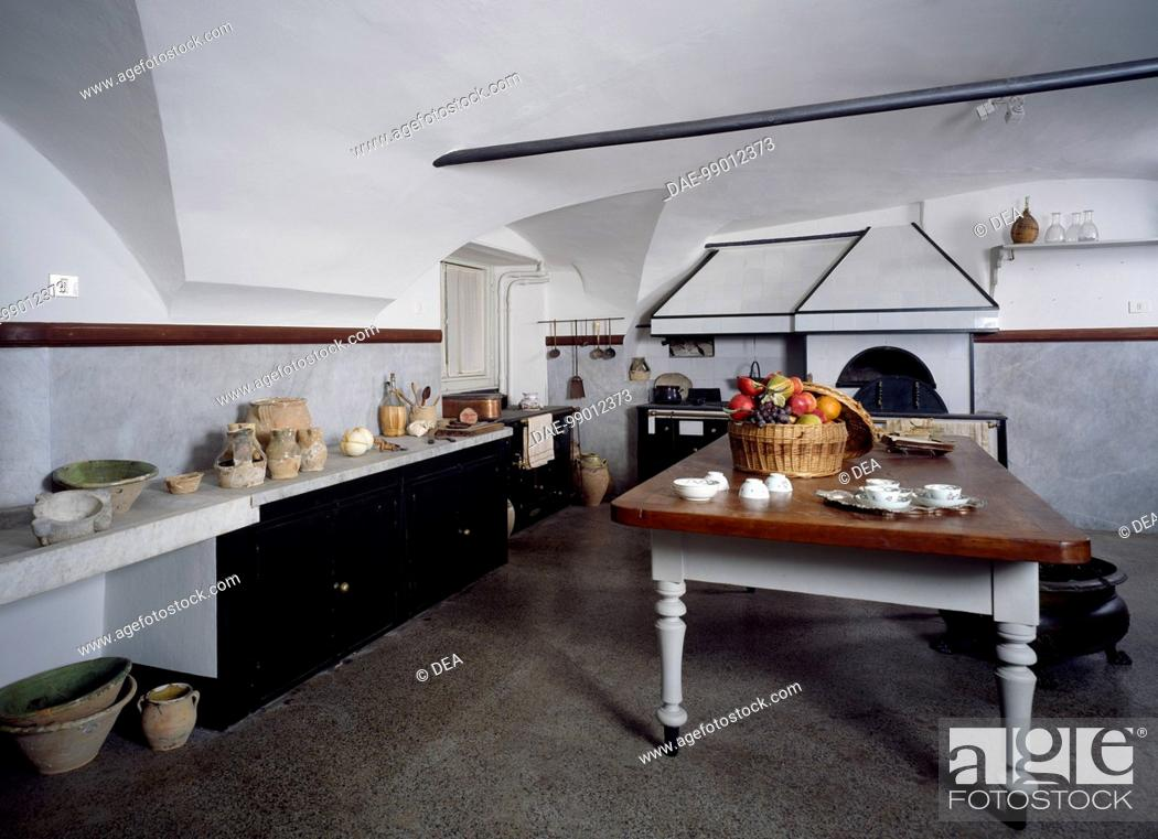 Stock Photo: Reconstruction of the kitchen located on the mezzanine floor of the Palazzo Spinola (UNESCO World Heritage List, 2006), Genoa.