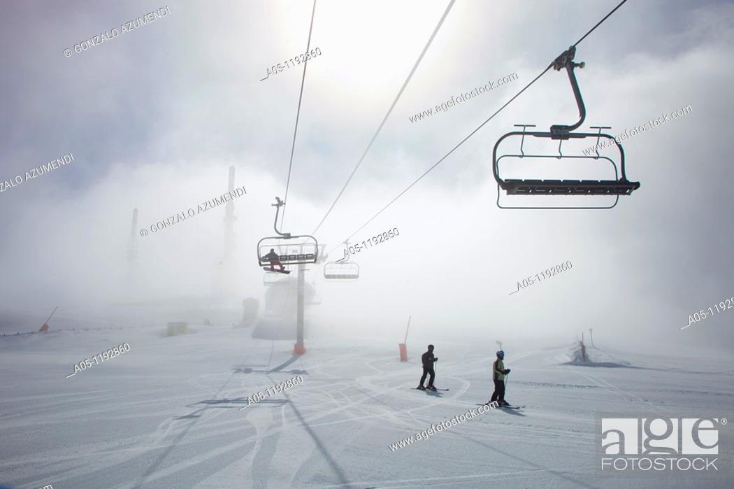 Stock Photo: Orri peak.Telecommunications towers. Ski resort of Port Aine. Catalan Pyrenees. Rialp.  Pallars Sobira.  Lleida-provincia. Catalonia.Spain.