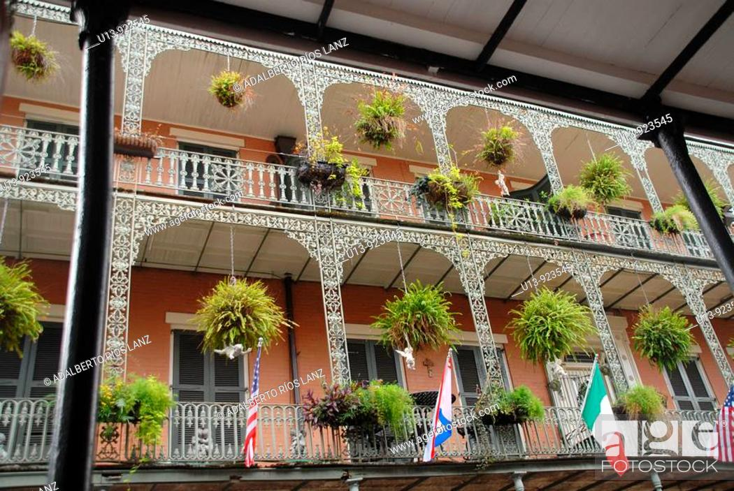 Stock Photo: Balconies in a Historic Building in Royal Street, French Quarter, New Orleans, Louisiana, USA.