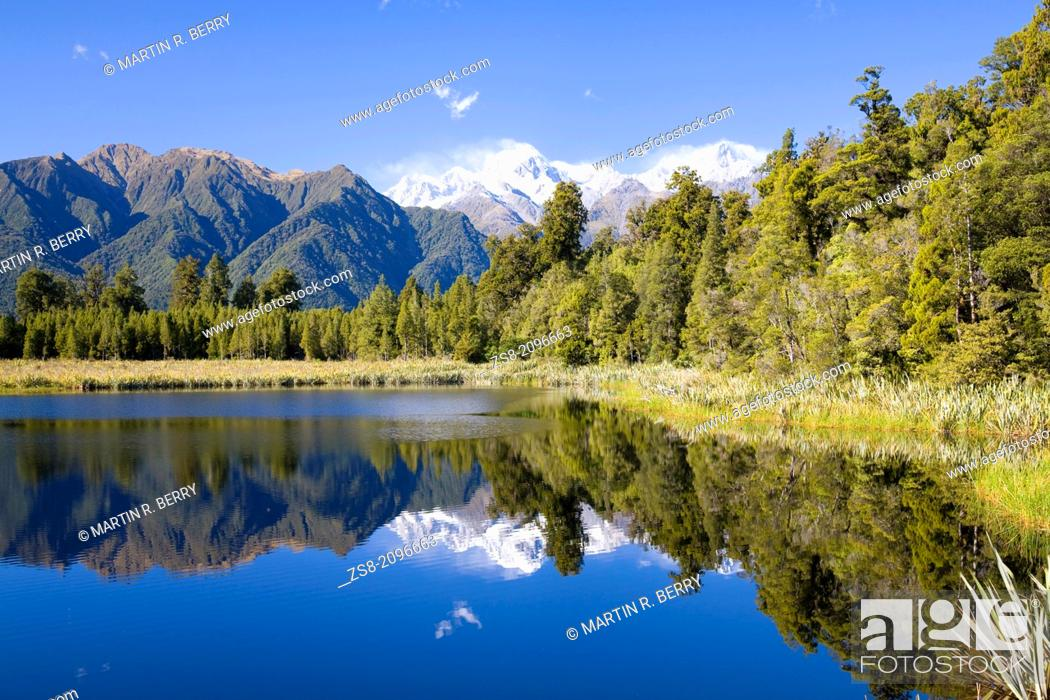 Stock Photo: lake matheson, south island, new zealand.