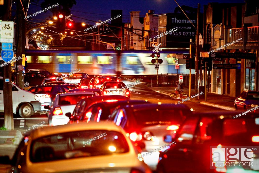 Stock Photo: Traffic congestion car wait at railway crossing, evening peak hour, Melbourne Australia.