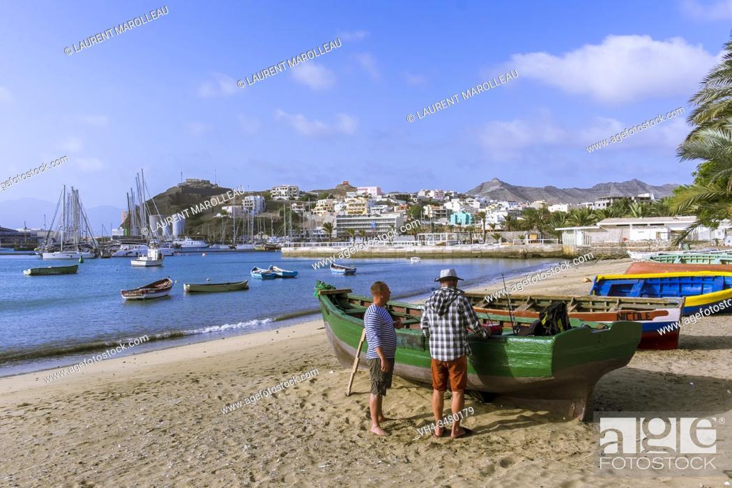 Stock Photo: Fishing boat on the Beach at Praia de Bote and Porto Grande Bay, Mindelo, Sao Vicente, Cape Verde Islands, Africa.