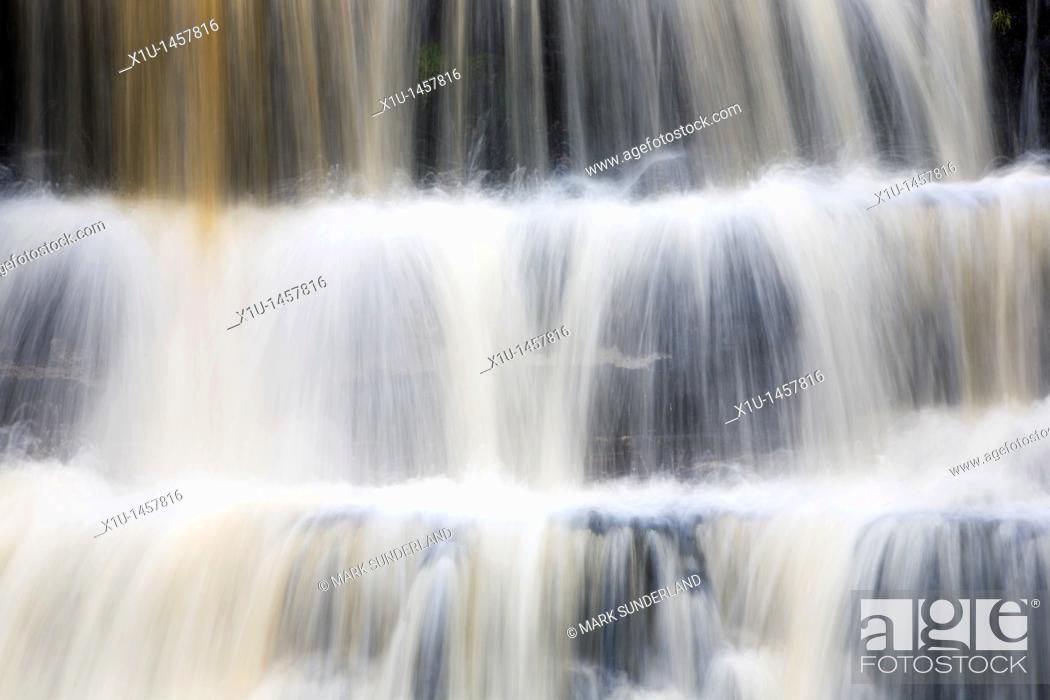 Stock Photo: Swinner Gill Waterfall Upper Swaledale Yorkshire Dales England.