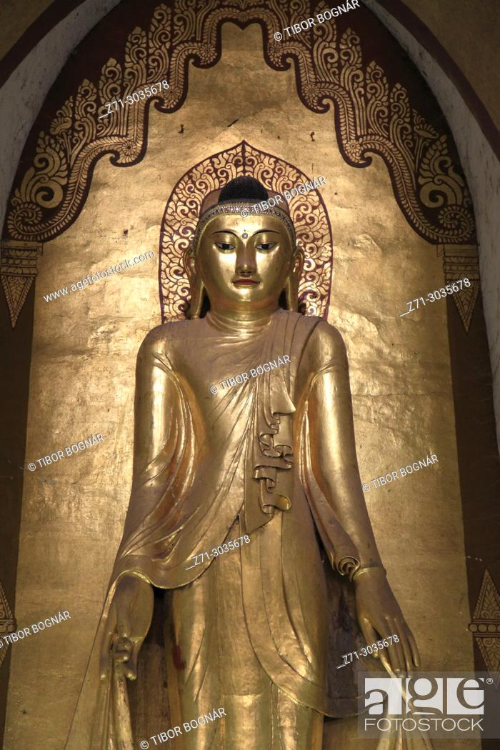 Stock Photo: Myanmar, Burma, Bagan, Ananda Temple, Buddha statue, .