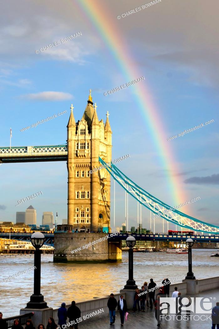Stock Photo: europe, UK, England, London, Tower Bridge rainbow.