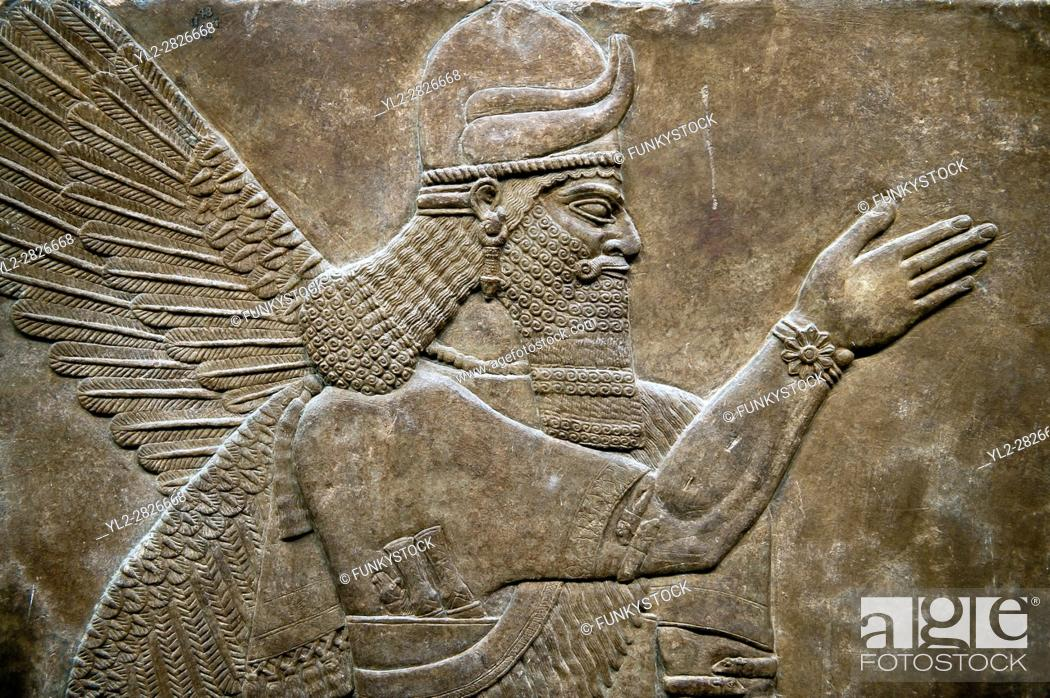 Stock Photo: Assyrian relief sculpture panel of a protective spirit from Nimrud, Iraq. 865-860 B. C North West Palace, Room Z. ref: British Museum Assyrian Archaeological.
