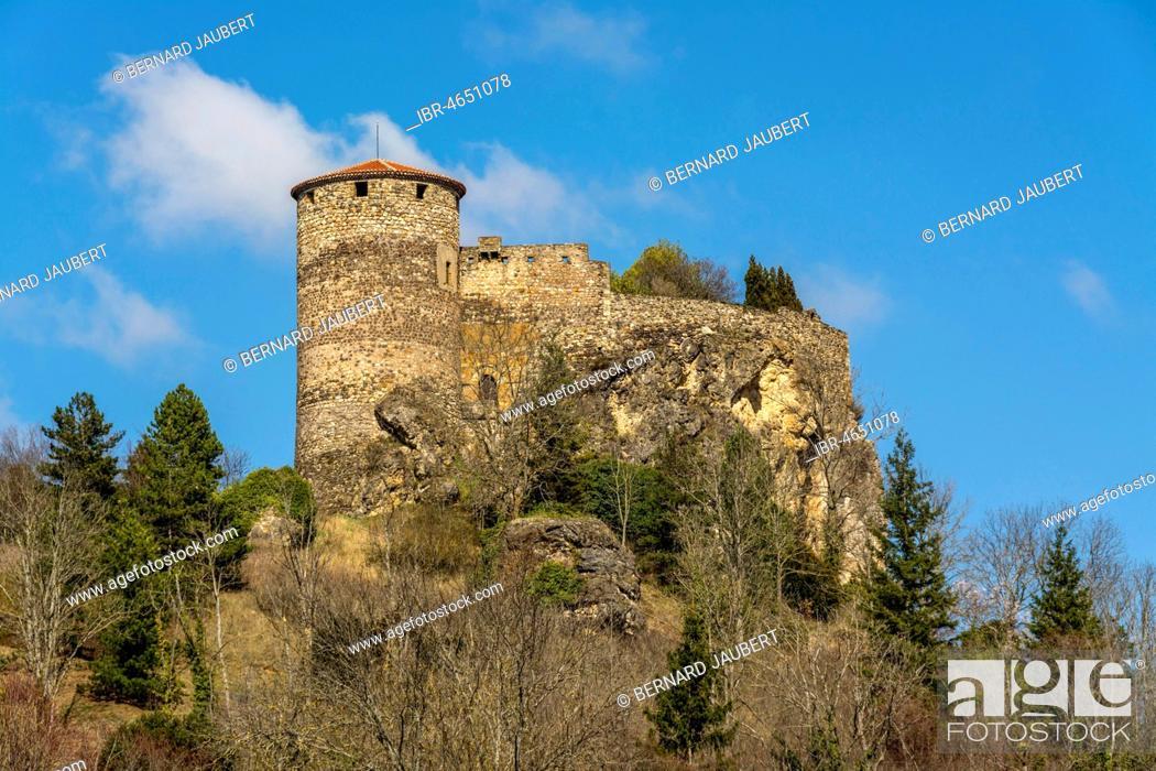Stock Photo: Château de Busséol, Castle, Busseol, Puy-de-Dome department, Auvergne, France.