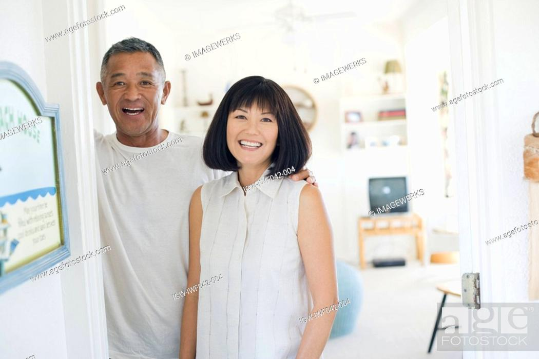 Stock Photo: View of a couple smiling.