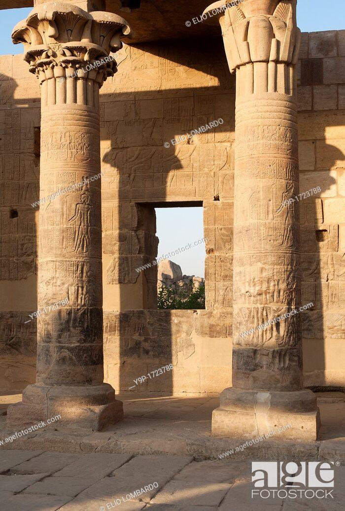 Stock Photo: Isis temple, Agilkia island, Philae, Aswan, Egypt.