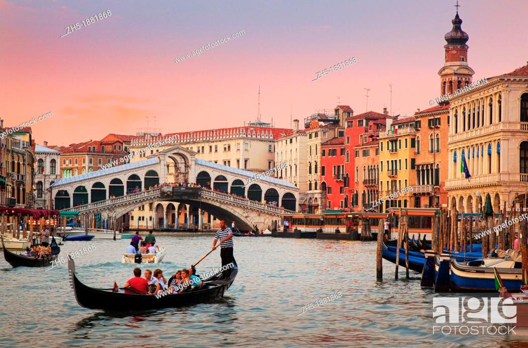 Stock Photo: Venice's Canal Grande at sunset.