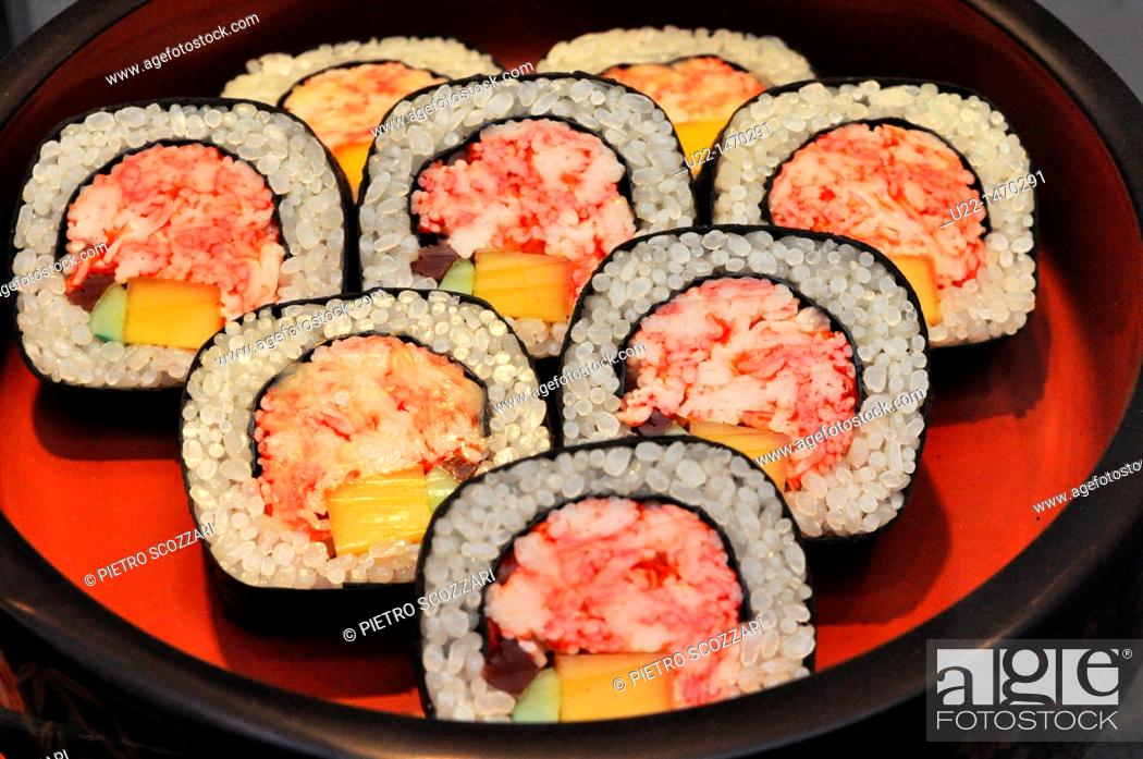 Stock Photo: Kyoto (Japan): fake, plastic sushi, shown as display at the entrance of a restaurant.