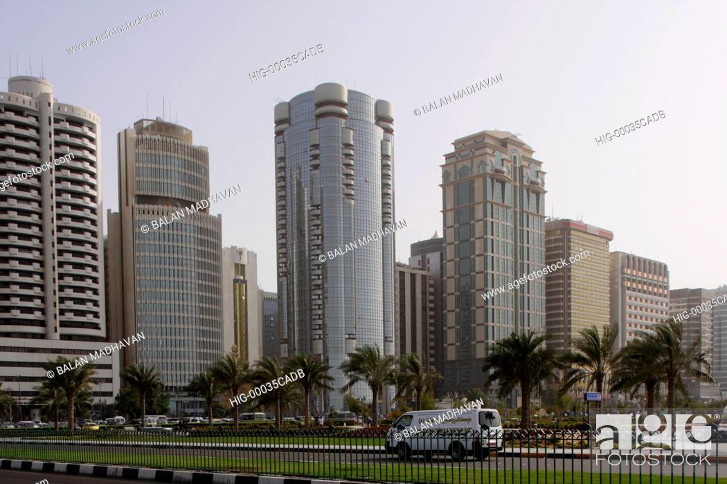 Stock Photo: HIGHRISE BUILDINGS IN DUBAI, UAE.