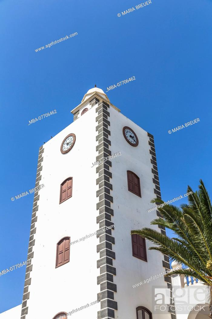 Stock Photo: Clock Tower, Town Hall, San Bartolomé, Lanzarote, Canary Islands, Spain, Europe.