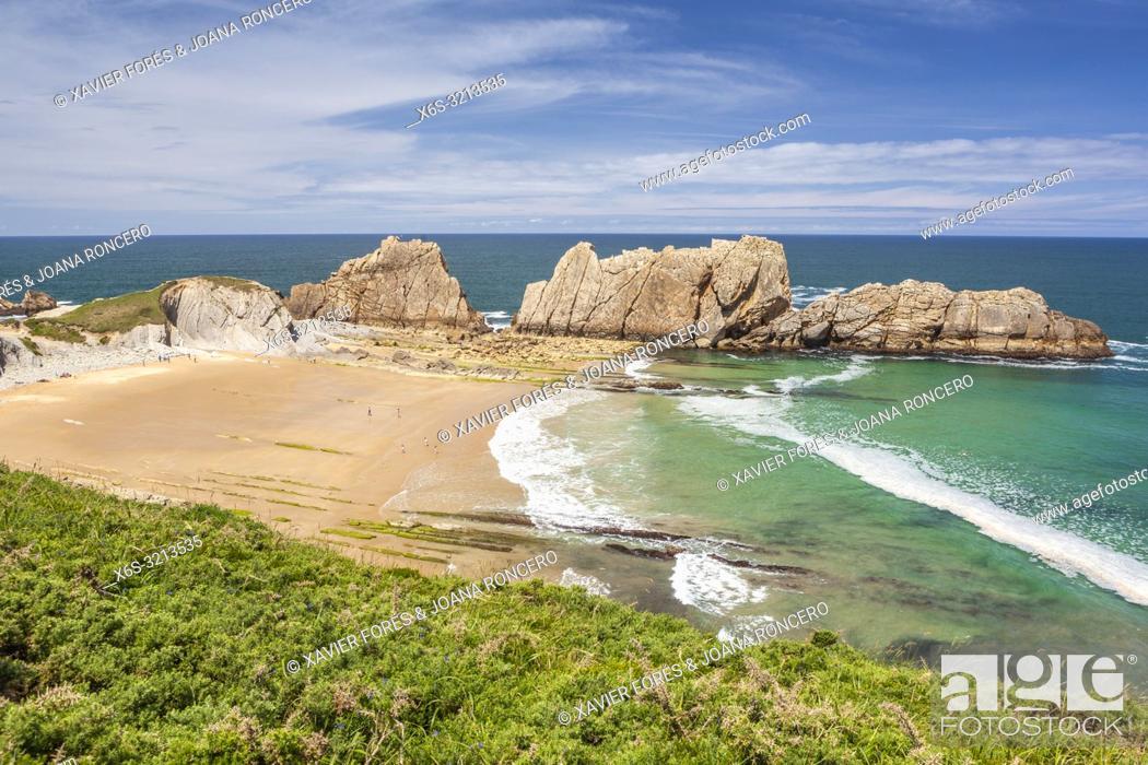 Stock Photo: Arnia beach, Liencres, Cantabria, Spain.