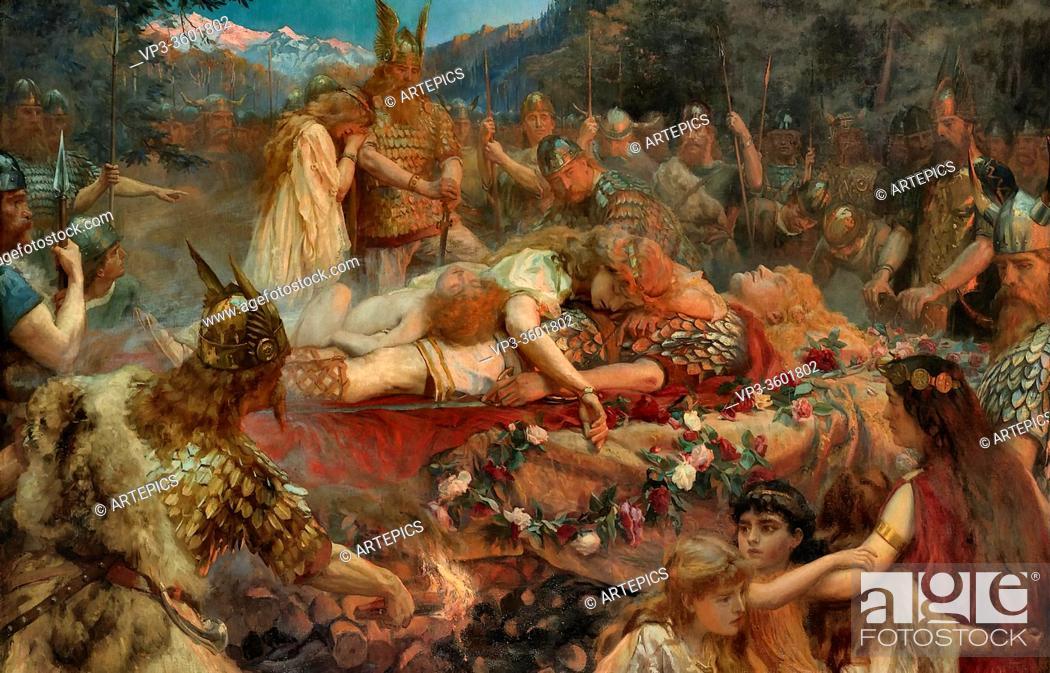 Imagen: Butler Charles Ernest - Death of a Viking Warrior - British School - 19th Century.