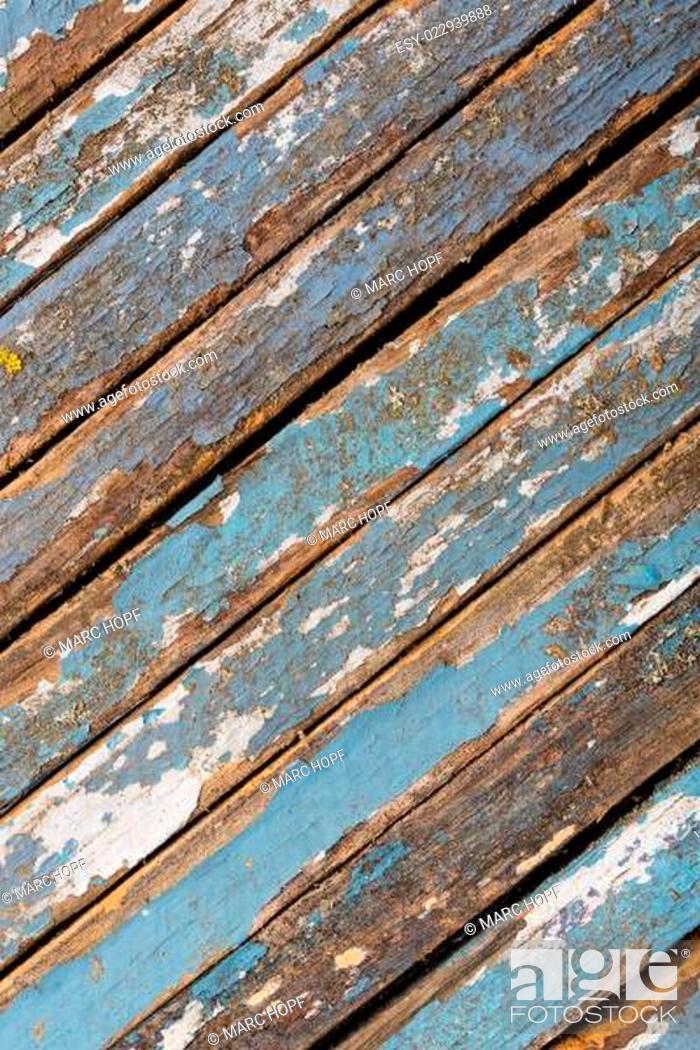 Stock Photo: Alte blau und weiss lackierte Holzbretter.