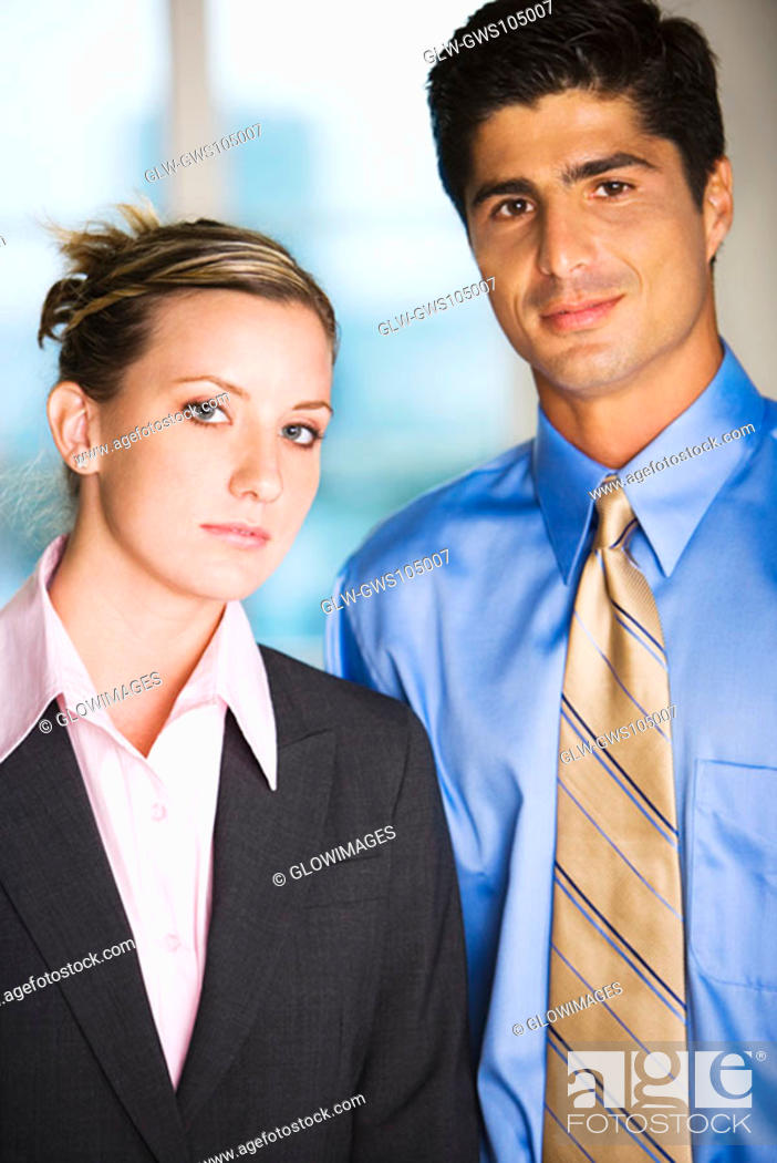 Stock Photo: Portrait of a businessman and a businesswoman.